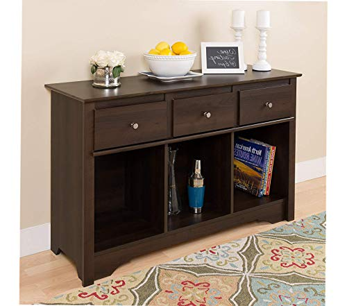 Wood & Style Office Home Furniture Premium Espresso Living Room Console (16in Flower Cabinet Knob)