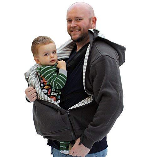 RooCoat Babywearing Coat – Charcoal with Gray Stripes – Medium