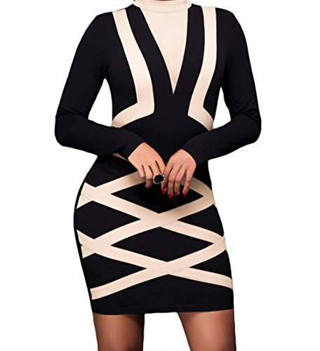Cyber Monday TomYork Contrast Accent Long Sleeve Little Black Dress(Apricot,S)