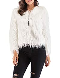 Women's Shaggy Faux Fur Coat Solid Color Long Sleeve Short Jacket