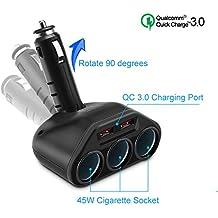 Rocketek 3-Socket 2-Port USB Quick Charge 3.0 Car Charger Splitter Adapter, 120W 12V/24V DC Outlet Multi Socket Car Cigarette Lighter USB with 2-Port QC3.0 Car Charger Power Outlet Splitter Extender