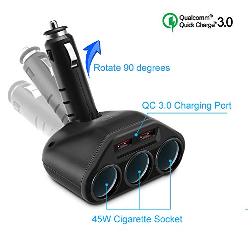 Rocketek 3-Socket 2-Port USB Quick Charge 3.0 Car Charger Splitter Adapter, 120W 12V/24V DC Outlet Multi Socket Car Cigarette Lighter USB with 2-Port QC3.0 Car Charger Power Outlet Splitter Extender (Auto Dc Outlet Power)