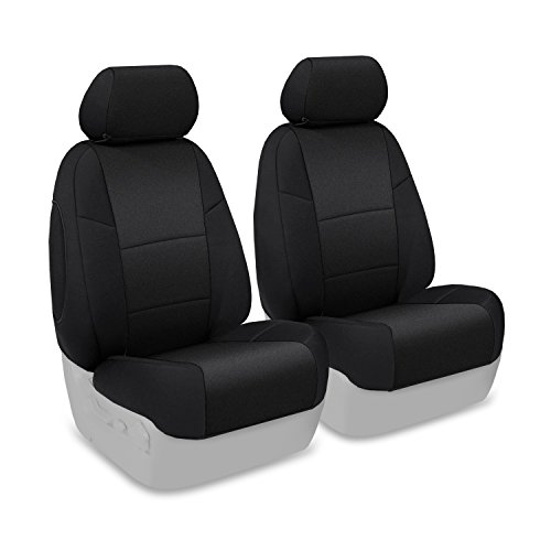 Coverking Custom Fit Front 50/50 Bucket Seat Cover for Select Ford Explorer Sport Trac Models - Neosupreme Solid (Black)