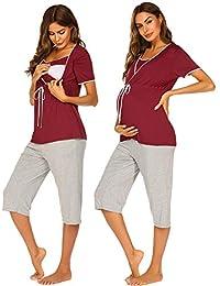 Ekouaer Maternity Hospital Set Short Sleeve for Breastfeeding Pregnancy Pajama Sets