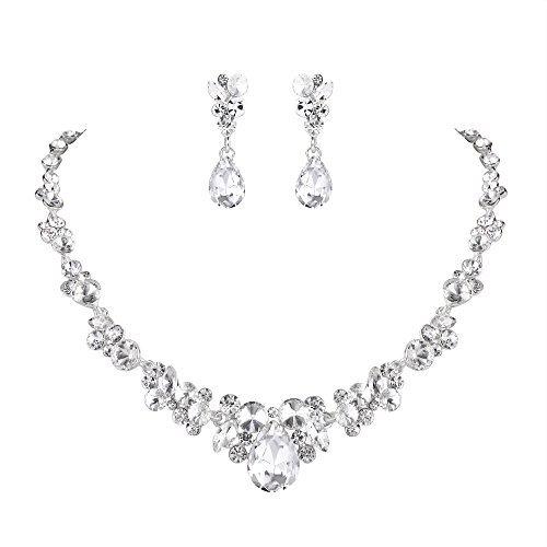 Earrings Floral Necklace Crystal (EVER FAITH Rhinestone Crystal Bridal Floral Teardrop Necklace Earrings Set Clear Silver-Tone)