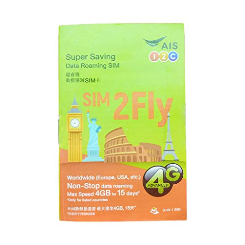 AIS SIM2FLY 4GB / 15 Days International Sim Card-Roaming Asia Europe Middle-East Russia North/South America.