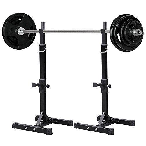 Yaheetech Pair of Adjustable Standard Solid Steel Squat Stands Barbell Free Press Bench