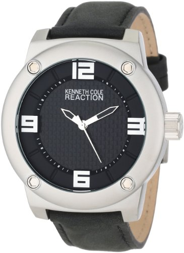 Kenneth Cole REACTION Unisex RK1312 Street Silver Case Black Leather Strap Analog Watch