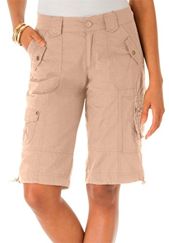 Roamans Women's Plus Size Bermuda Shorts New Khaki,16 W