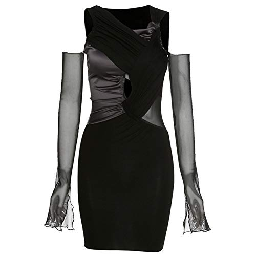 Kcibyvx Dames herfstjurk lange mouwen schoudervrij bodycon mini-jurk sexy H-out gothic jurk met V-hals gestapelde…