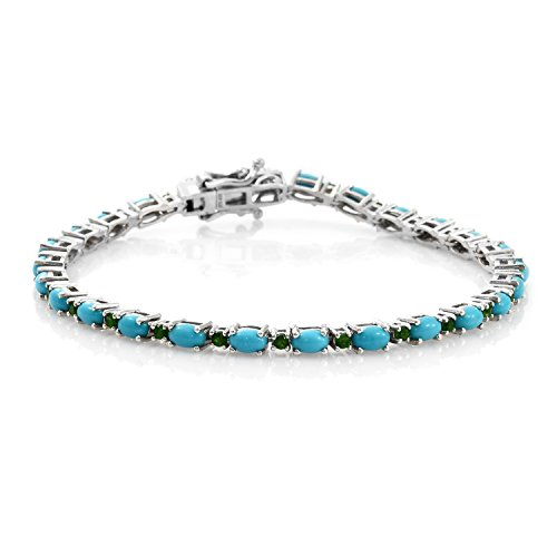 Sleeping Beauty Turquoise, Diopside Platinum Plated 925 Solid Silver Tennis Bracelet For Women 7.5