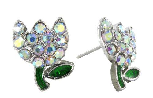 Spring's Mini Tulip Flower Crystal Rhinestone Stud Earrings in Aurora Borealis for Easter