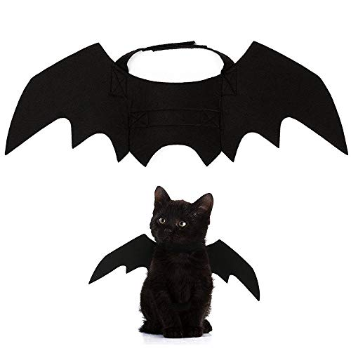 Pet Bat Dress Up Animal Pet Dog Cat Halloween Bat Vampire Halloween Fancy Dress Costume Outfit Wings (Black)