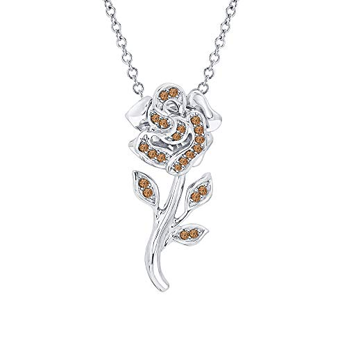 Beautiful Rose Flower Smoky Quartz Pendant Necklace 18k White Gold Over 925 Sterling Silver for Girl's ()