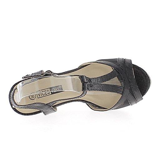 ChaussMoi Nero zeppa sandali tacco 9cm e suola spessa 2cm belle spose pizzo
