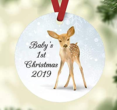 Baby's First Christmas 2019 Ornament - Fawn and Snowflakes