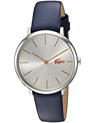 Lacoste Womens MOON Quartz Stainless Steel and Leather Casual Watch, Color:Blue (Model: 2000986)