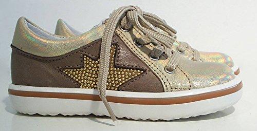 Acebo's Low Top Sneaker Leder gold braun Reißverschluss