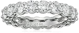 Platinum Plated Sterling Silver Round Cubic Zirconia All-Around Infinity Band Ring, Size 6 (2.5 cttw)