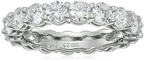 Plated Sterling Silver Round Cubic Zirconia Eternity Band Ring (3.5 Mm)