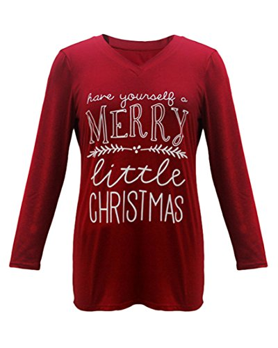 Women's Plus Size Letter Print Have Yourself A Merry Little Christmas Tee Funny Trendy T Shirt Tops Tee Blouse (22W-24W, Red)