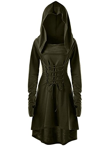 Womens Halloween Hooded Robe Lace Up Vintage Pullover High Low Long Hoodie Dress By Gemijack (Large, Army Green) -