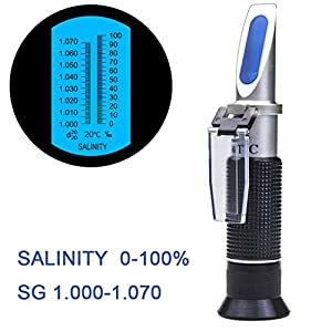 SMARTSMITH Salinity Refractometer for Seawater and Marine Fishkeeping Aquarium 0-100 PPT with Automatic Temperature Compensation 1