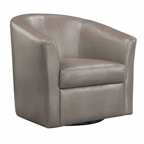 Coaster 902726-CO Faux Leather Upholstered Swivel Accent Chair, Champagne For Sale