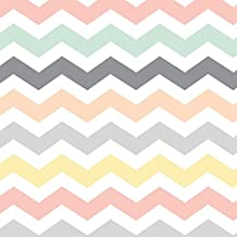 Chevron Fabric Pastel Chevron : Mint Grey, Peach, Yellow & Coral Pink by Inspirationz Printed on Performance Knit Fabric by the Yard by Spoonflower