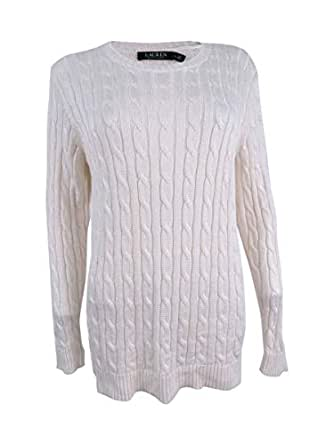 Ralph Lauren Lauren Womens Crew Cable Knit Pullover Sweater Ivory L