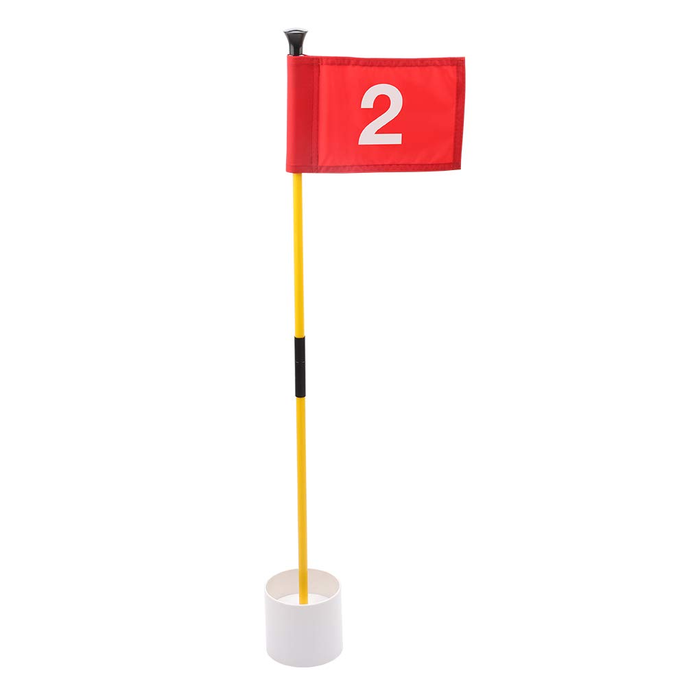 KINGTOP Practice Putting Green Flagstick, Portable Golf Pin Flags, Indoor/Outdoor, 2-Section Design, Solid Red Flag, White Numbered #2