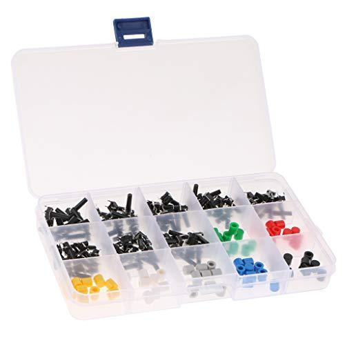 150pcs モーメンタリ触覚プッシュボタン+キャップ 7色 ケース付き