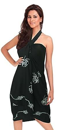 La Leela pescados del scat playa diseño bordado de natación pareo encubrir abrigo negro