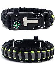 Sylvialuca Outdoor paraplu touw armband kompas camping multifunctionele armband creatieve flint Reflecterende armbanden zijn gemakkelijk te vinden