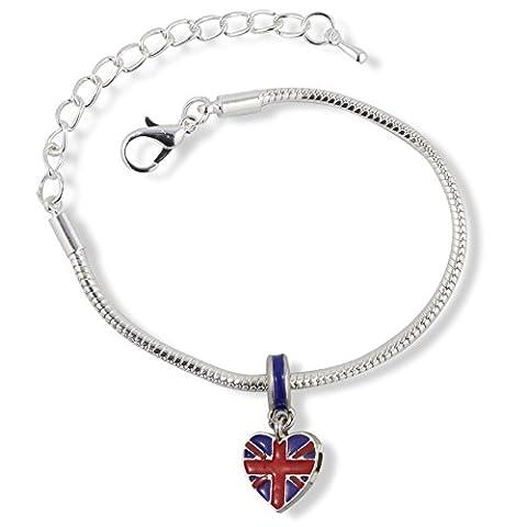 British Flag on Heart Snake Chain Charm Bracelet - Jack Heart Charm