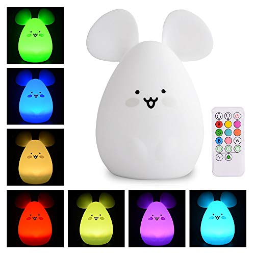 ATOMFIT LED Nursery Night Lights for Kids: Cute Animal Silicone Baby Night Light with Touch Sensor and Remote - Portable and Rechargeable Infant or Toddler Cool Color Changing Bright (Mouse)