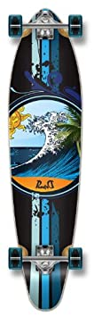 Yocaher Graphic WAVE Complete Longboard KICKTAIL 70 s shape skateboard w 71mm wheels, WAVE