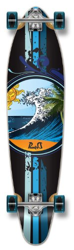 Yocaher Punked Graphic Kicktail Complete Longboard Skateboard, Wave, 40 x 9-Inch