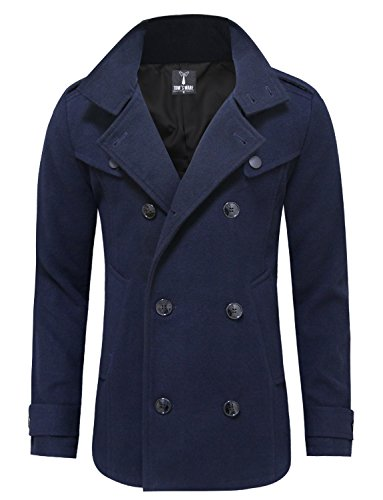 Tom's Ware Mens Stylish Fashion Classic Wool Double Breasted Pea Coat TWCC06-NAVY-US M (Navy Wool Peacoat)
