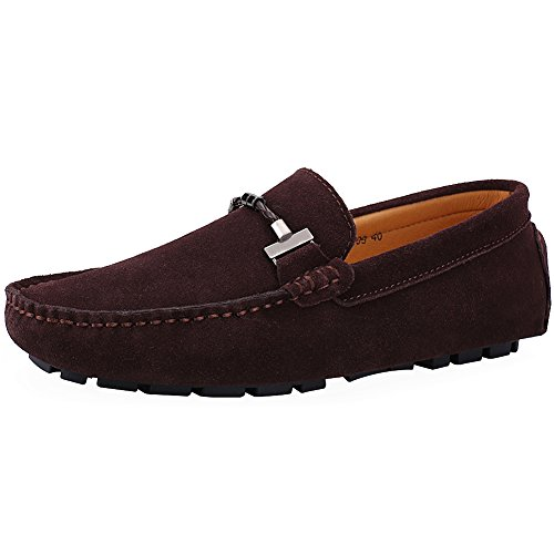 (Jamron Mens Elegant Buckle Loafers Comfort Suede Driving Shoes Stylish Moccasin Slippers Coffee SN19020 US11)