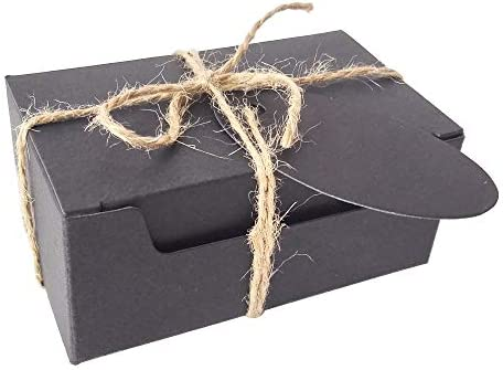 50 Piezas Rectángulo Regalos Envase Kraft Caja de Papel Y Etiqueta Cuerda de cáñamo Caja de jabón (Caja Negro Con Etiquetas Negro): Amazon.es: Juguetes y juegos