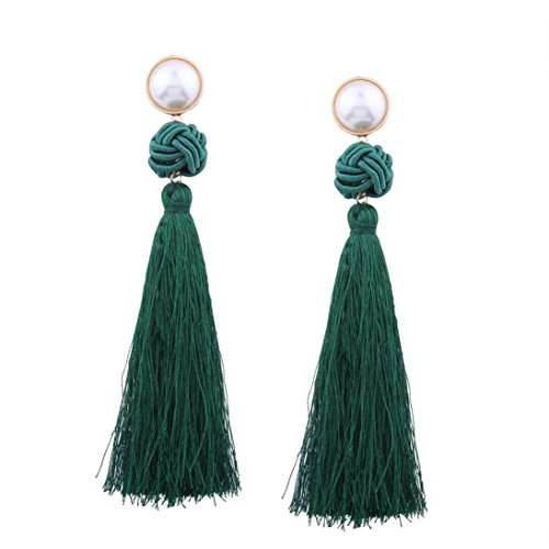 Latest Earrings New Fashion Style (Beuu Jumping Property Prices European And American Fashion Big Ball Long Fringed Earrings Vintage Women Bohemian Weave Tassel Drop Jewelry (C))