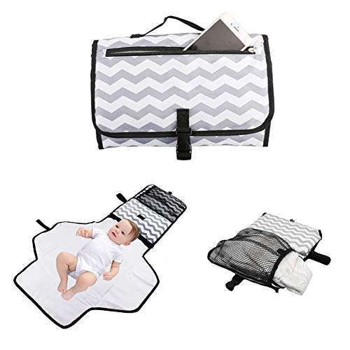 Portable Waterproof Baby Diaper Changing Pad Kit Travel Home Change Mat Organizer Bag Foldable Travel Changing Station for Toddlers Infants and Newborns