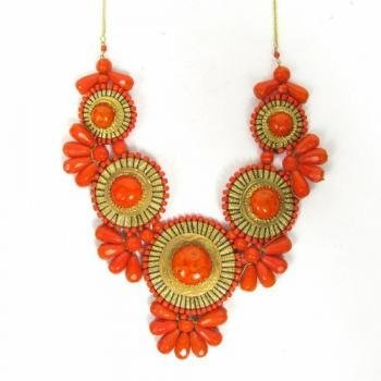 ZAD XX-Large Gold Metal Orange Glass Bead Medallion - Necklace Orange Statement