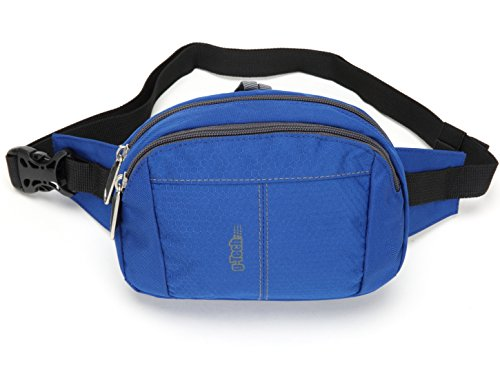 Fanny Pack Bag for Men Women Children Unisex Travel Waist Bag Pack Small Bumbags With Extra Waist Size (Blue) (Camera Mesh)