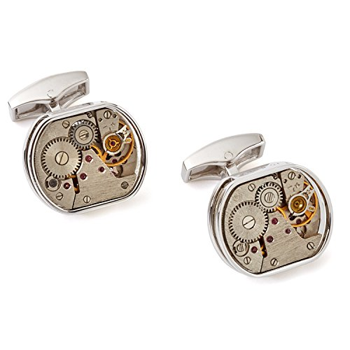 Skeleton Mens Edition Limited (Tateossian Mechanical Skeleton Window Limited Edition Cufflinks - Rhodium Silver)