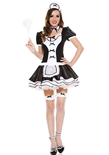 - MUSIC LEGS Women's Sweet and Majestic French Maid, Black, X-Small