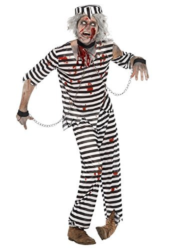 Mens 4 Piece Zombie Convict Prisoner Dead Corpse Halloween Fancy Dress Costume Outfit (Large (42-44