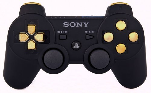 PS3 Playstation 3 Black/Gold Modded Controller (Rapid Fire) COD Ghosts, Black Ops 2 - Jitter, Drop Shot, Auto Aim Zombies, Quick Reload (Auto Aim Ps3 Controller compare prices)