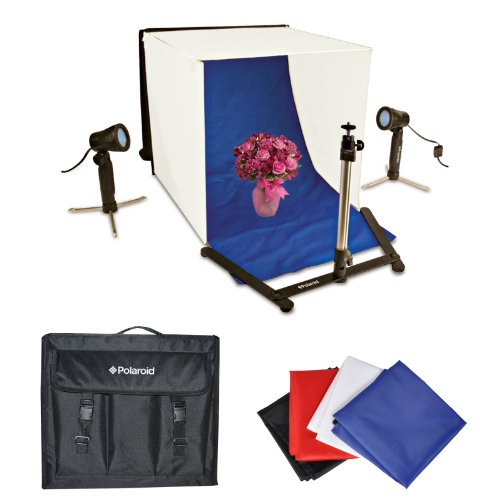 Polaroid Photo Studio Kit with 2 Output Lights, 4 Backdrops, 1 Tripod   3 Diffuser Screens Also Includes Nylon Tote Bag